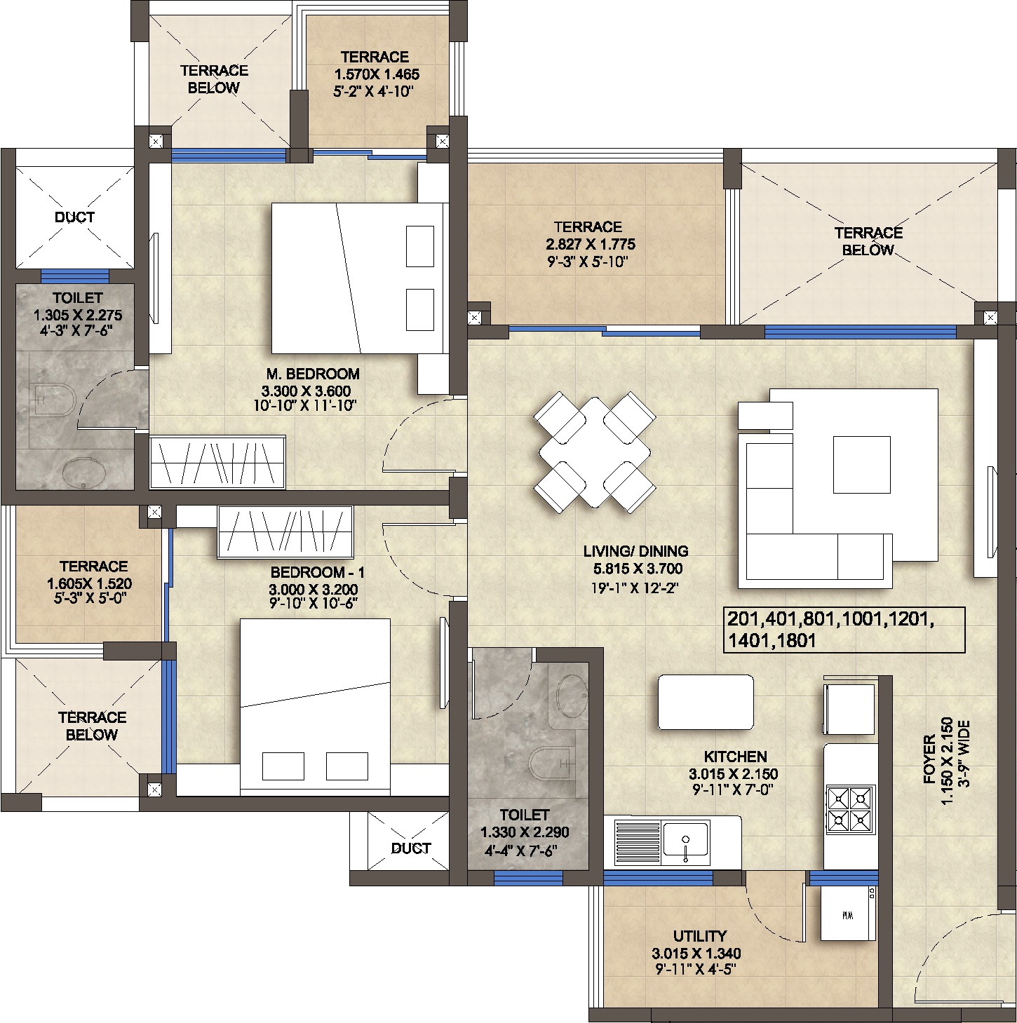 2 BHK 1080 Sq Ft